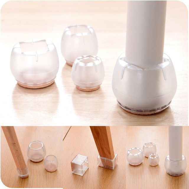 4pcs Clear Round Bottom for dia. 45-50mm Table Chair Leg Feet Protector Pad Furniture Base Cap Cover Antiskid Floor Protect NO.1
