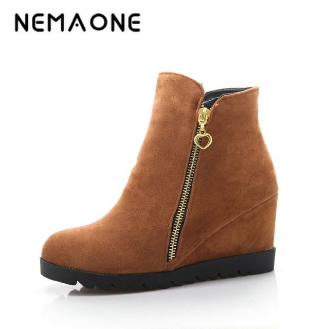 NEMAONE New Fashion women winter ankle boots Women hidden wedges boots Design zip Round toe Women western boots shoes woman