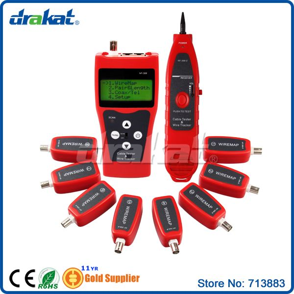 Multifuctional Remote Cable Tester Tracker LCD display RJ45 RJ11 BNC NF-388