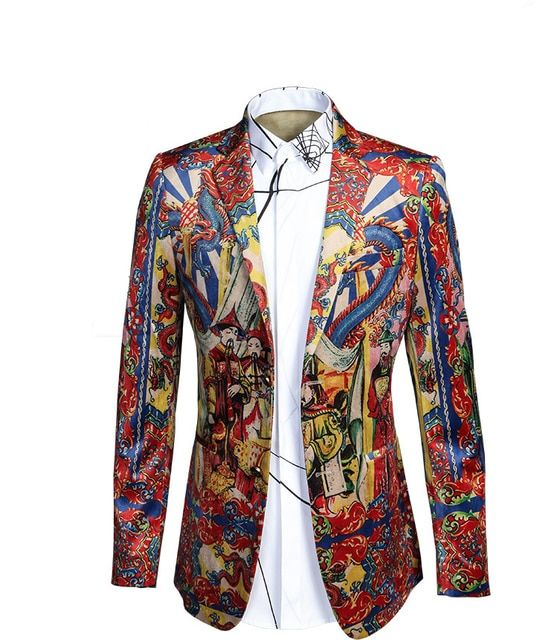 HOT! Luxury 2017 Mens Retro Velvet Blazers And Jackets Size M-L-XL-2XL-3XL Chinese Style Fashion Red Stage Printed Blazer Men