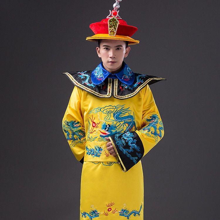 Yellow Chinese Emperor Costume Chinese Ancient Qing Dynasty Ming Dynasty Men Hanfu Clothing Embroidered Dragon' Party Cosplay 17