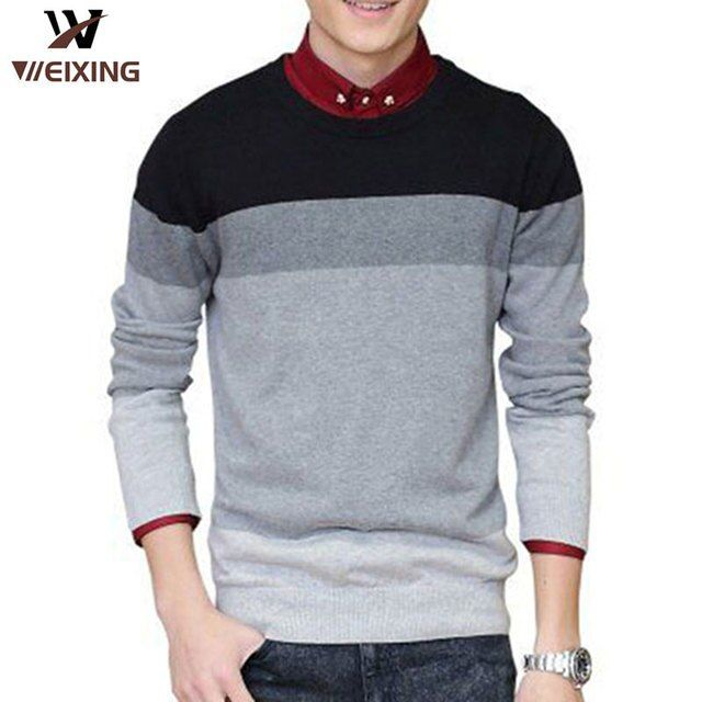 Hot Sellers  Autumn O-Neck Striped Slim Fit Knitting Mens Sweaters Pullover Sweater 3Color Size M-3XL 2008