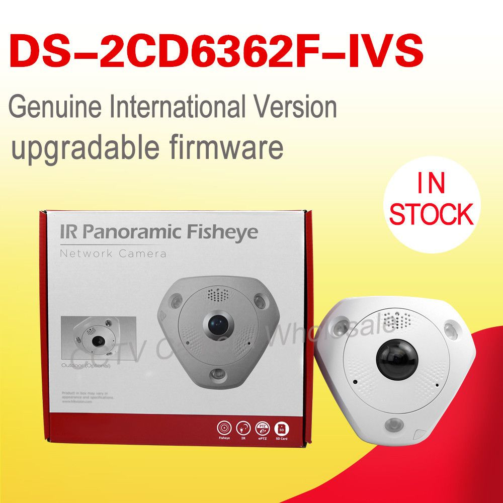 DS-2CD6362F-IVS  English version 6MP Network CCTV Fisheye ip security camera, 360 view angle  Alarm  IP66 cctv Camera