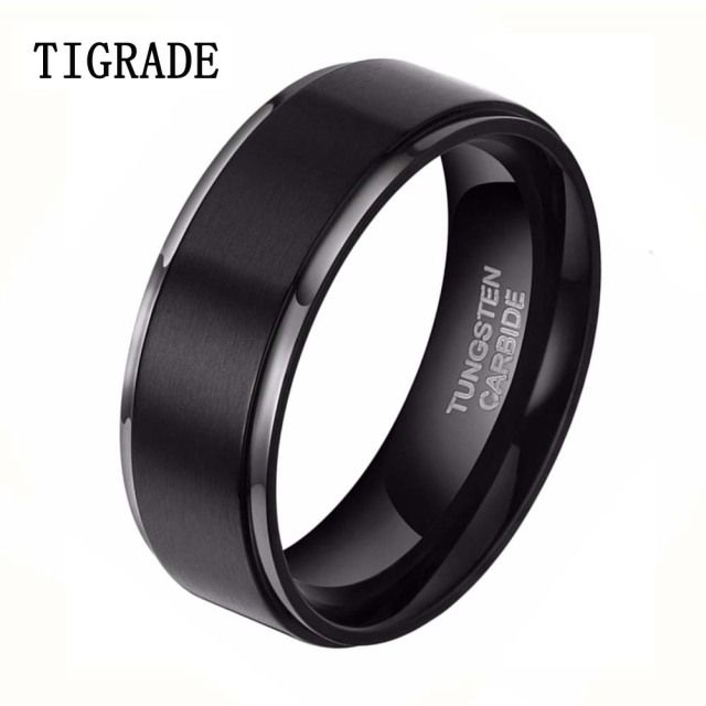 8mm Black Brushed Tungsten Carbide Ring Men Fashion Jewelry High Polished Silver Edge Male Wedding Rings Vintage Engagement Band