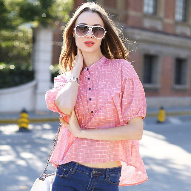 Veri Gude Summer Style New Women's Batwing Sleeve Blouses Plaid Shirts Button in Front Stand Collar Loose Plaid Shirt