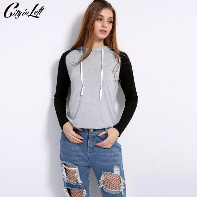 City 2018 New Spring Women Tops Fashion Patchwork Hoodies Hood Top Pullovers Long Sleeve Sweatshirts Casual Clothes 1137