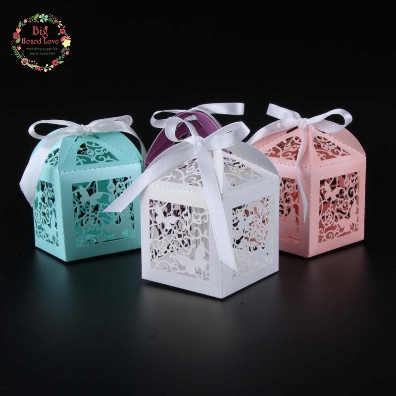 50pcs Laser Cut Butterfly wedding favor box  candy box  gift box baby shower candy box wedding decoration event party supplies