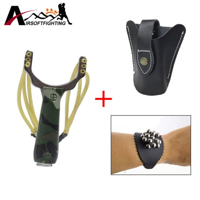 Tactical Hunting Accessories Powerful Steel Slingshot Catapult With Leather Holster & Steel Ball Magnetic Leather Bracelet
