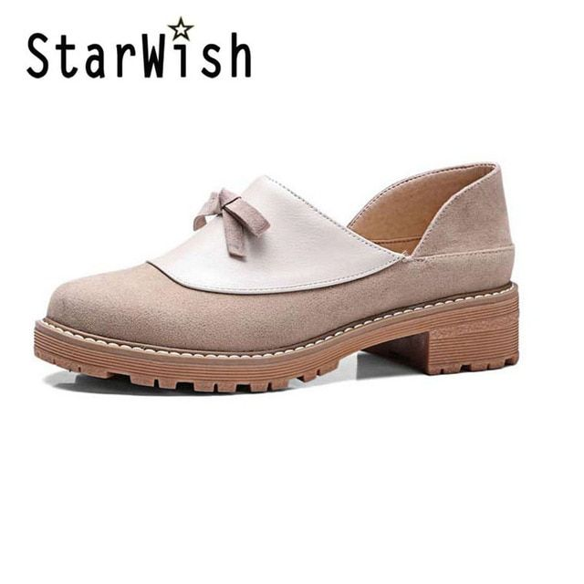 STARWISH New Women Casual Slip-on Loafers Fashion Bowtie Patchwork Flock Flats For Women Ladies Casual Flat Shoes Big Size 34-42