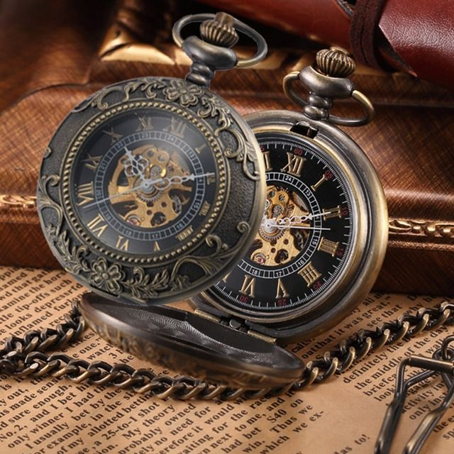 Steampunk Mechanical Pocket Watches Men Vintage Bronze Skeleton Transparent Retro Necklace Pocket & Fob Watch With Chain For Man