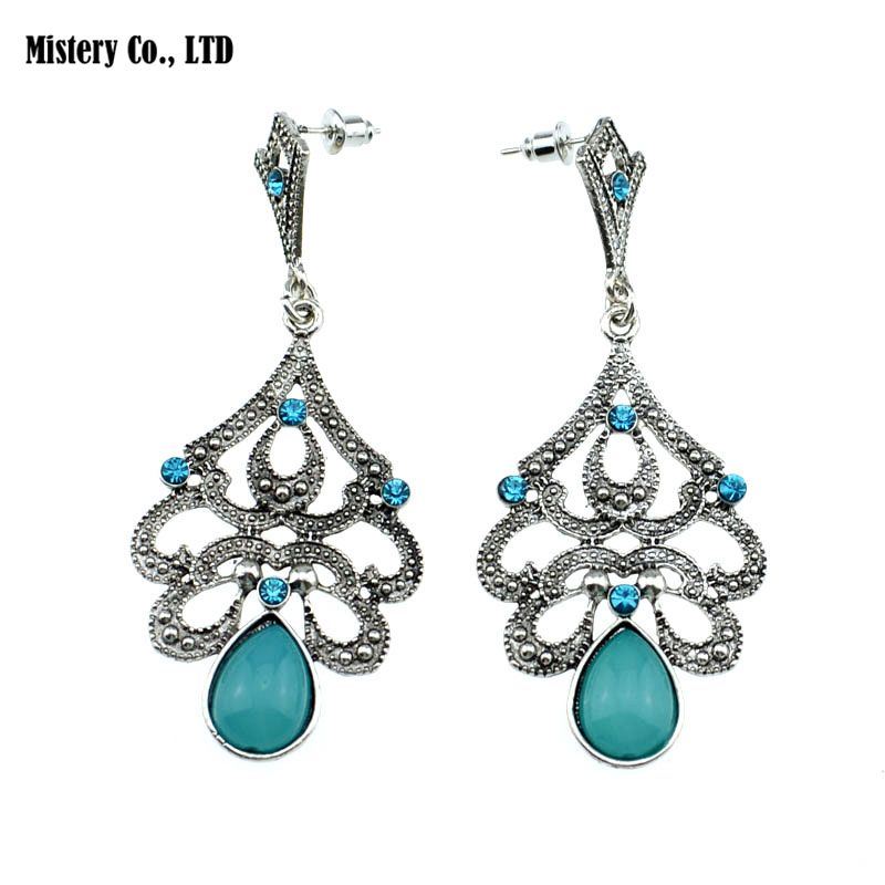 ER390 Antique Silver Color Bohemia Blue Retro Vintage Earrings For Women Lady  New Jewelry Bijouterie