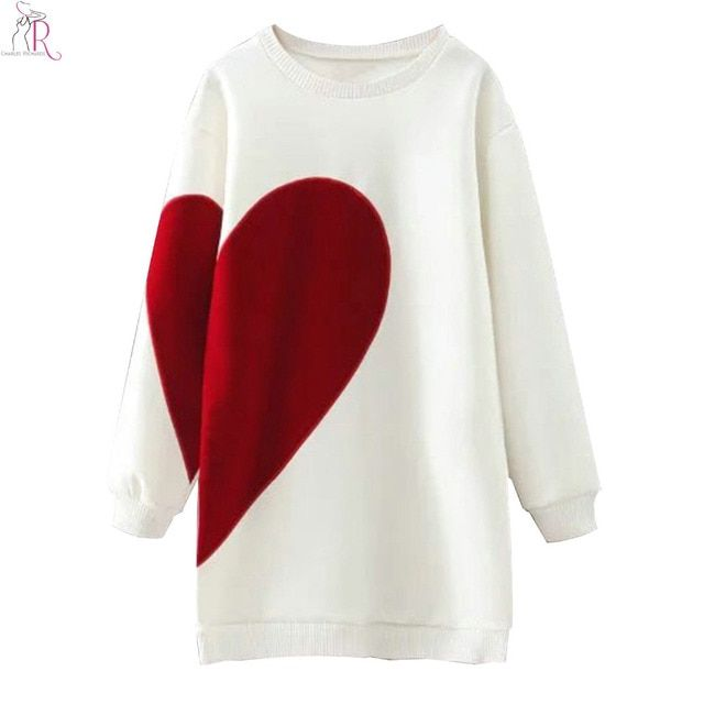 2 Colors Heart Letter Print Long Oversized Sweatshirt Hoodies Long Sleeve Loose Casual Round Neck High Street 2017 Women Fall
