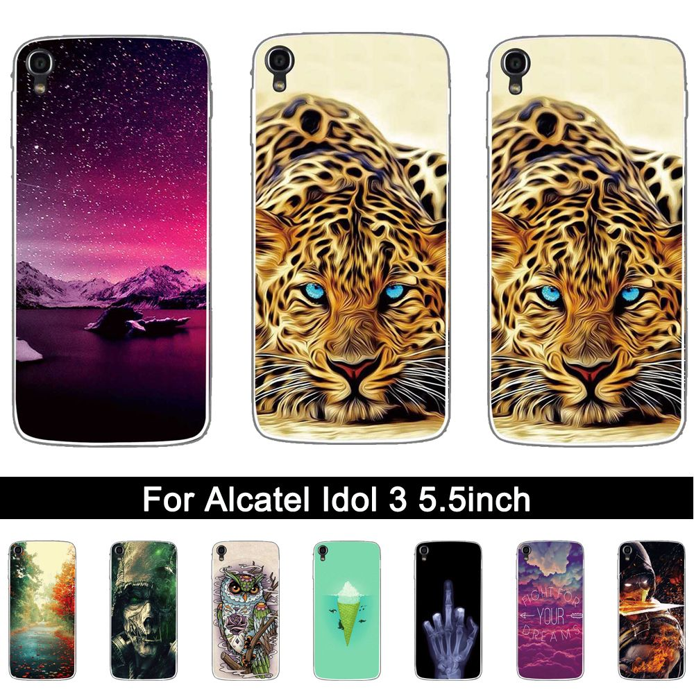 Soft Silicon Case for Alcatel One Touch Idol 3 5.5 inches Lxuruy 3D Printing Protective TPU Coque for Alcatel idol 3 Case 5.5""