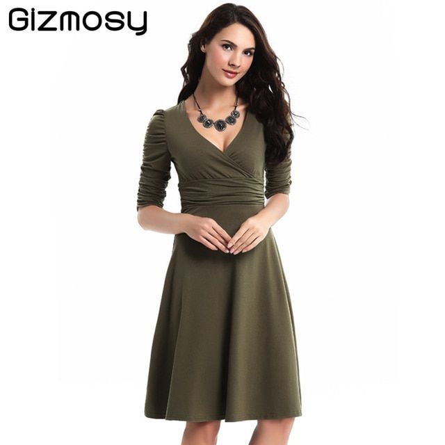 Fashion Multi Colored Mid-sleeve Loose Expansion Mild Dresses Women Vestido Occupation Society Deep V-neck Big Swing Dress BN036