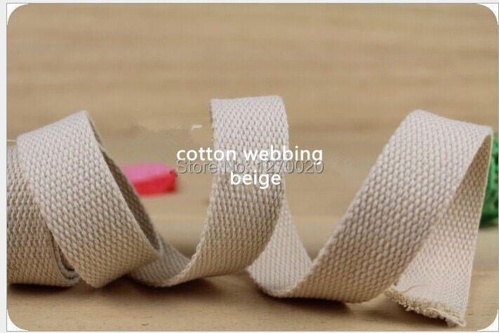 1'' Inch 25mm Beige Color Cotton Polyester Webbing 54y/roll Free Shipping