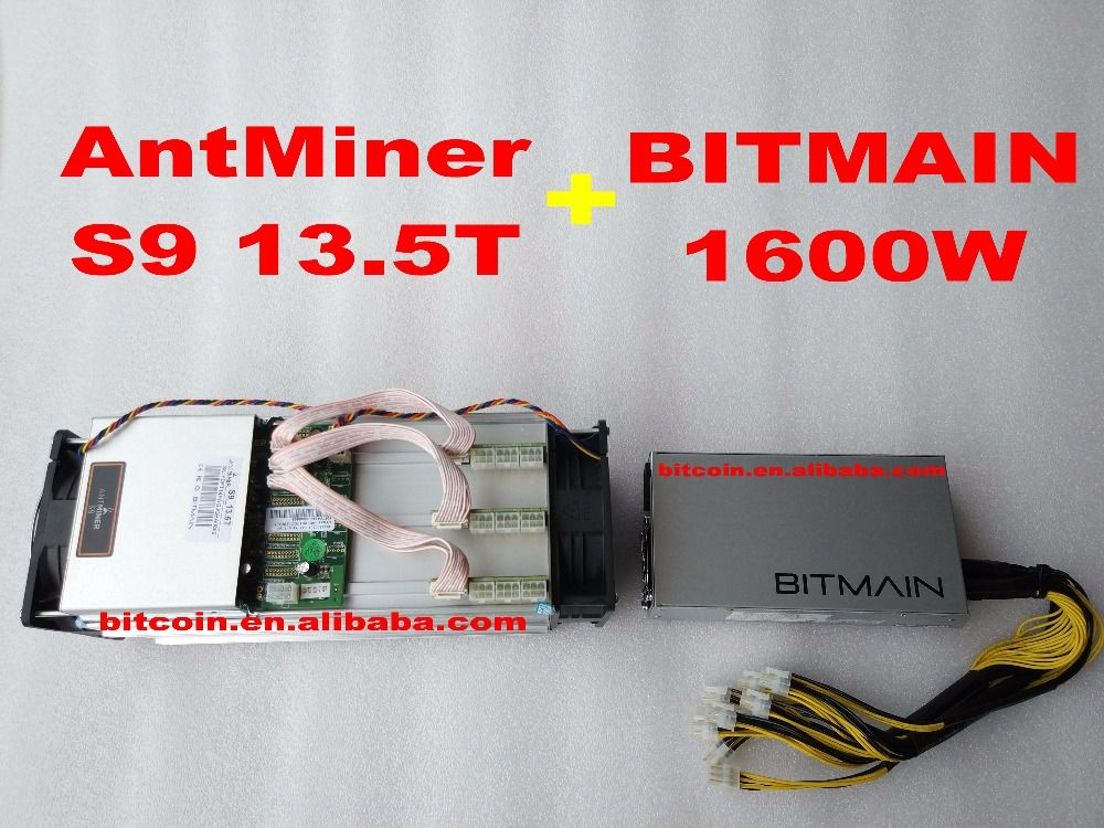 AntMiner S9 13.5T + 1600W PSU 13.5Th/s Bitmain 13500Gh/s Asic Miner Bitcon Miner 16nm BTC Mining Power Consumption 1350W SHA256