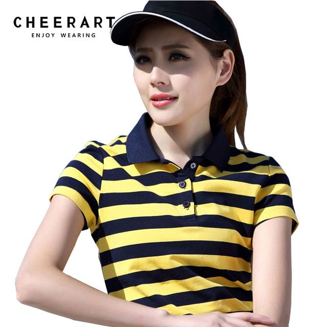 Plus Size M-4XL 100% Cotton Polo Shirt Women Summer Top Lady Striped Polo Raph Shirt Female Polo Femme Golf Shirt Clothing