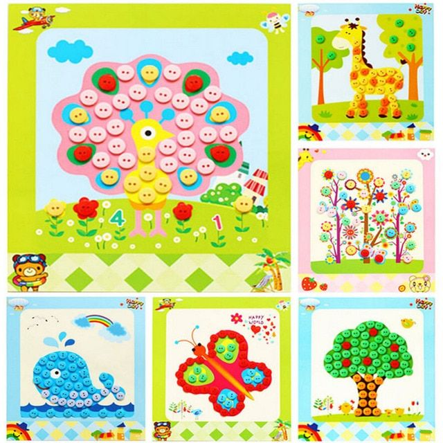 Kids Children Drawing Toys DIY Picture Handmade Buttons Paste Painting  Material Bag For Home Kindergarten Nursery