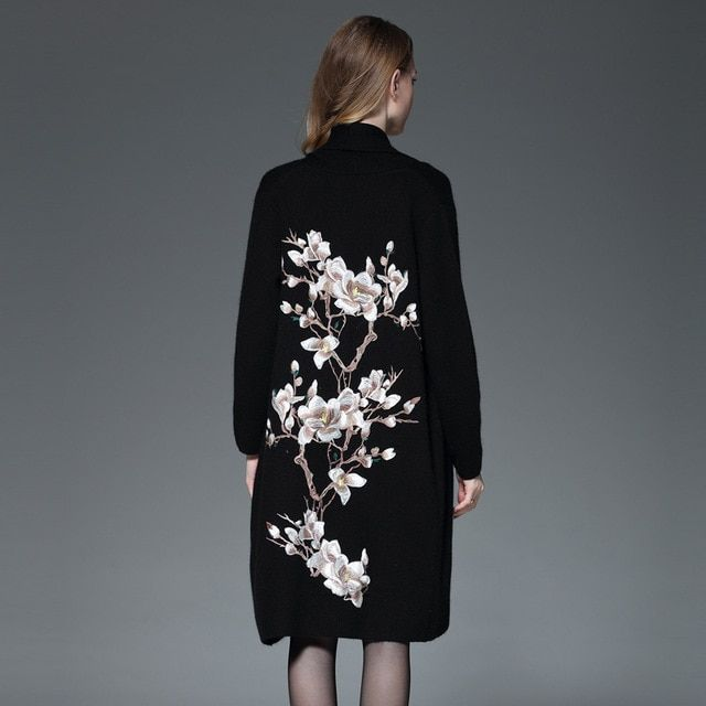 2016 vintage high quality women's embroidery Flower chinese style design knitted long cardigan overcoat cape outerwear women's c