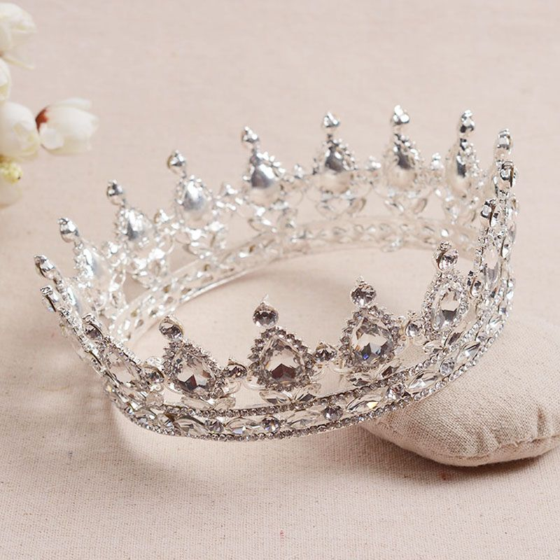 European Royal King Crown Queen Rhinestone Bride Tiara Quinceanera Wedding Princess Corona Women Headdresses Diadem Jewelry
