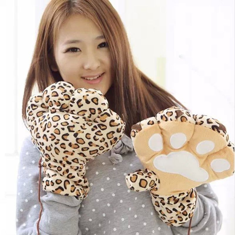 Lovely Halloween Gift for Girl Friend Big Bear Claw Women Winter Halter Gloves Mittens Warm Gloves Female Soft Lover Gloves