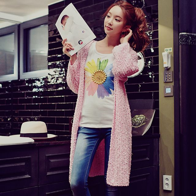 2017 spring new knitted sweater cardigan big sizes korean fashion casual long coat female wholesale