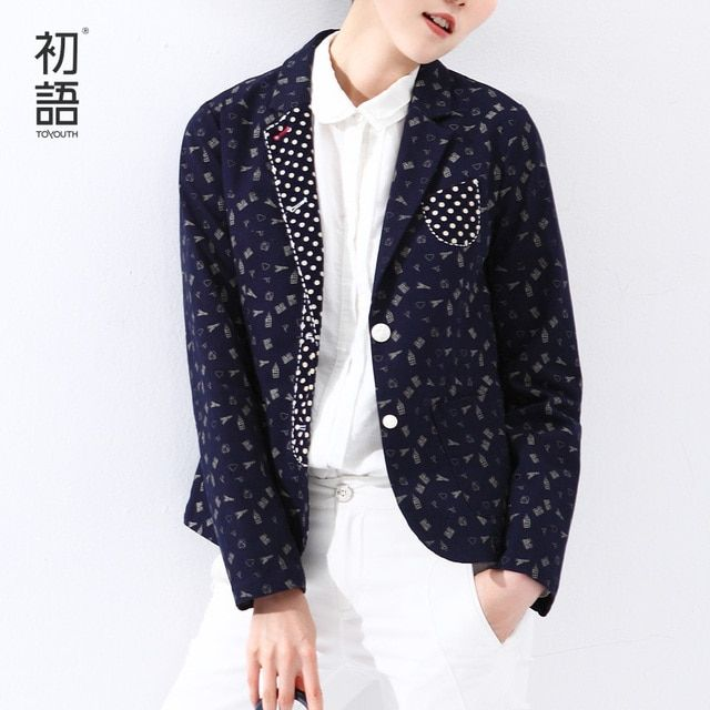 Toyouth 2017 Women Slim Blazer Cartoon Print Polka Dot Patchwork Long-sleeve Jacket Women Single Breasted  Jacket