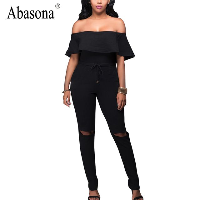 Daily Stylish Hole Knee Full Length Skinny Jumpsuit Slash neck Ruffles Women Jumpsuit Rompers Backless Sexy Bodycon Overalls