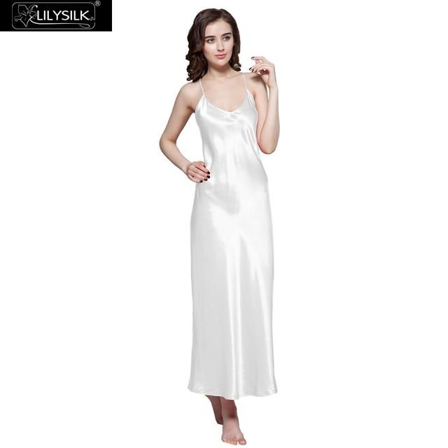 Lilysilk 100% Long Silk Elegant Nightgowns Women Bride Sexy 22 Momme Wedding Slip Lingerie Sleep Dress Luxurious Pure Sleepwear