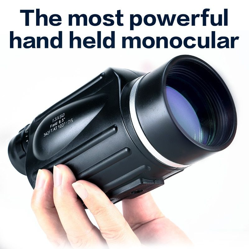 Hunting 13x50 Big Vision Monocular Powerful Handheld Telescope Eyepiece Spotting Scope Sport Watch with Handle USCAMEL
