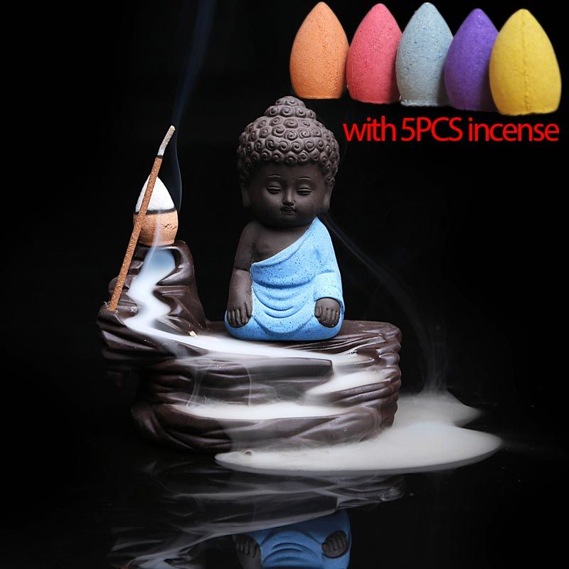 5PCS Incense + Home Decor Buddha Censer Ceramic Yixing Aroma Backflow Stick Incense Burner Purple Clay Kung Fu Monk Incense Base