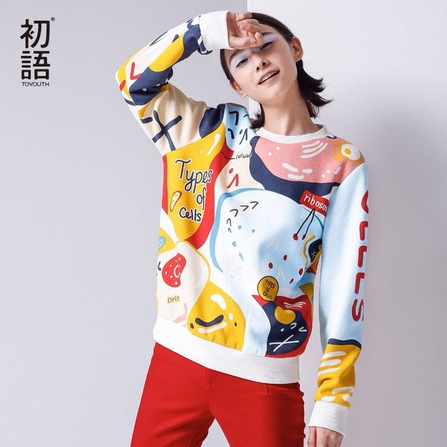 Toyouth 2017 New Arrival Women Casual Cotton Pullovers Sweatshirts Autumn Cartoon Printed O-Neck Sweatshirts