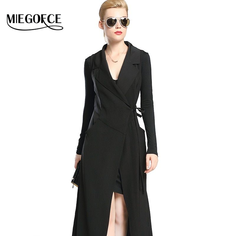 Women Dress Fitted Long Suit Office Brief Elegant Female Dress Mature Sexy V-neck Stylish Woman Dress MIEGOFCE New Collection