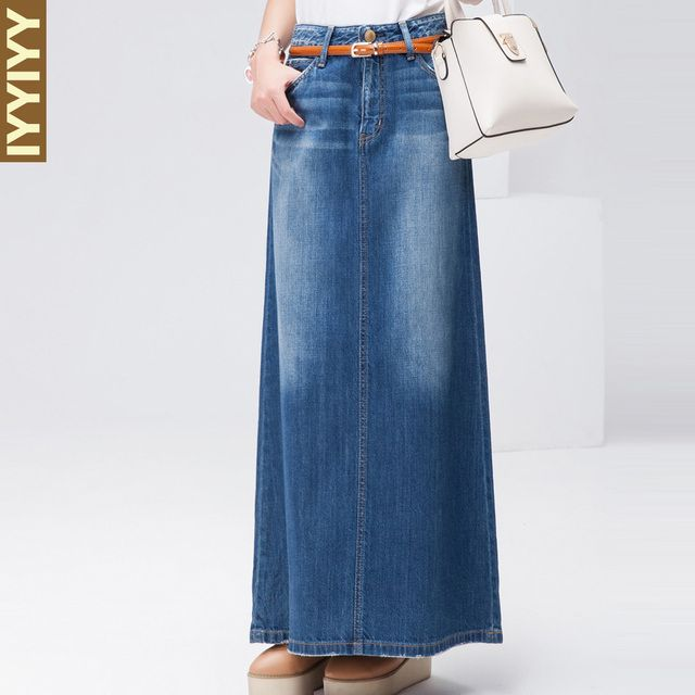 Free Shipping 2018 New Fashion Long Maxi Denim Jeans Skirt Spring And Autumn A-line Skirts Plus Size S-XL Blue Casual Skirts