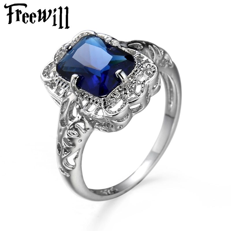 FREEWILL Luxury Design rings for women Blue Mother's Day Gift Ring Plated Channel Setting Engagement Wedding Rings For Women