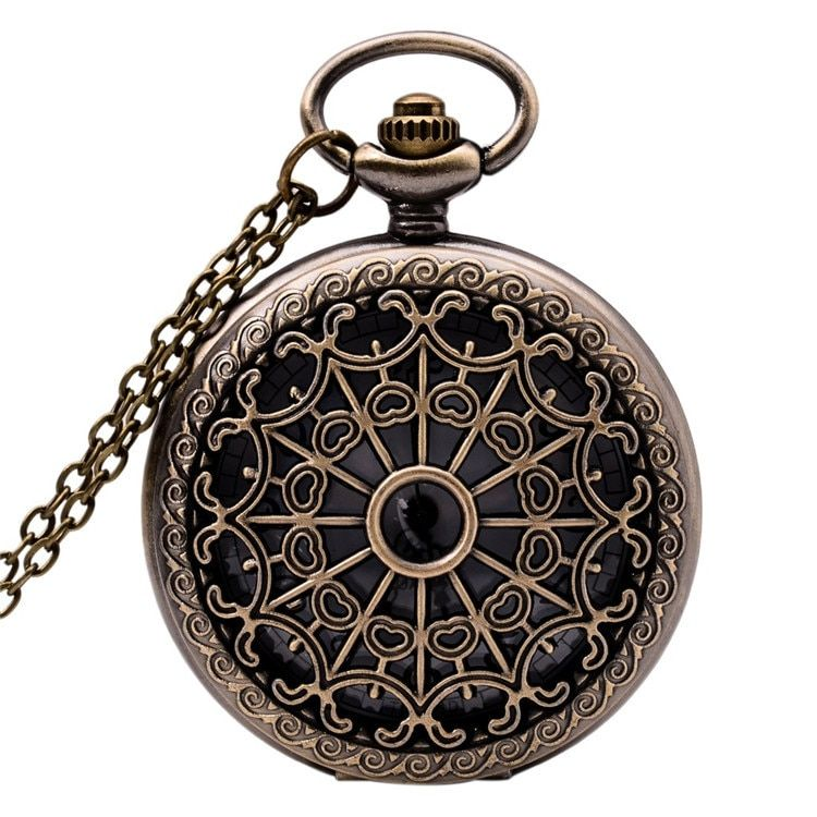 Vintage Women & Men Long Chain Antique Watch Fashion Hot Retro Bronze Snowflake Alloy Digital Quartz Unisex Pocket Watches