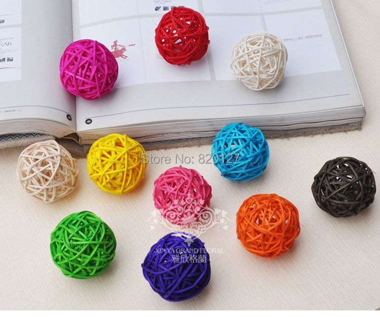 60pcs Handmade Bamboo Wicker Rattan Balls Basket Christmas Tree Home Wedding Decoration Balls
