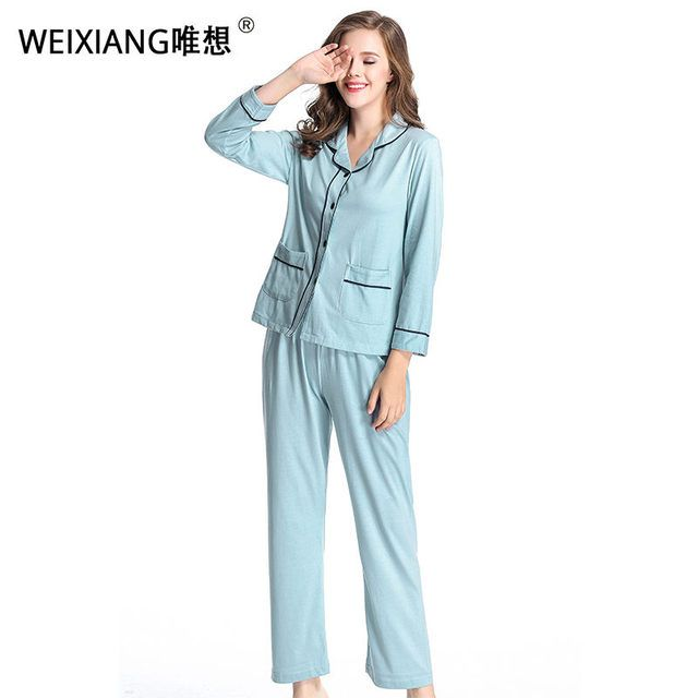 WEIXIANG Women Winter Pajama Set Soft Printing pijama Home Pyjamas Woman Cotton Pyjama Set Sleepwear Plus Size Pajamas For Women