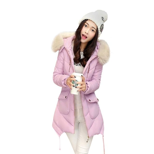 Best Deal New Fashion Femme Outerwear Hooded Jackets Big Fur Collar Casual Slim Long Coat Winter cotton-padded For Women