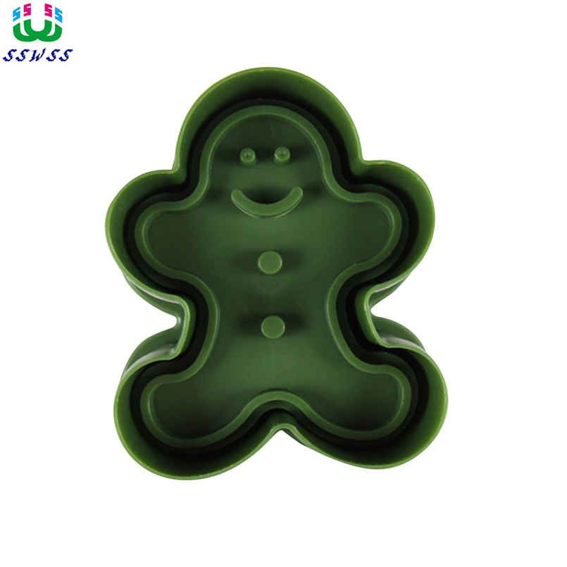 Gingerbread Man Pattern Printing Molds,Food Grade Plastic Cake Decorating Cutters Tools,Direct Selling
