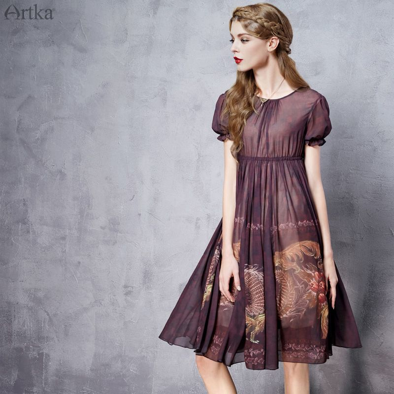 Artka Women's Summer New Byzantium Style Printed Chiffon Dress O-neck Short Sleeve Empire Waist Wide Hem Dress LA11565X