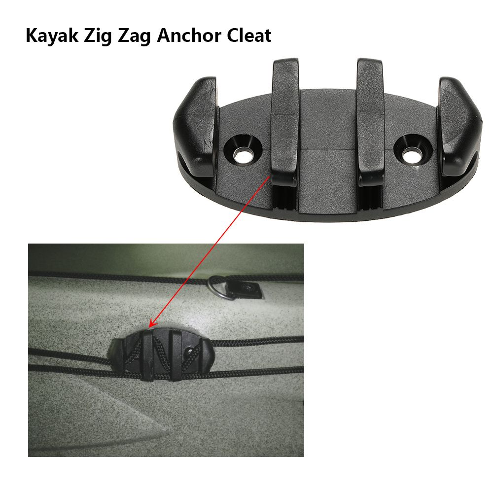 Black 8.89cm Zig Zag Anchor Cleat for Kayak Canoe Deck Marine Fishing Boat Kayak Accessories
