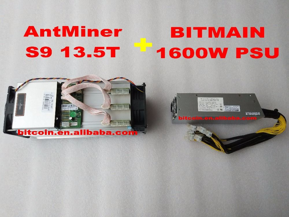 2017 AntMiner S9 13.5T + 1600W PSU 13.5Th/s Bitmain 13500Gh/s Asic Miner Bitcon Miner 16nm BTC Mining Power Consumption 1350w
