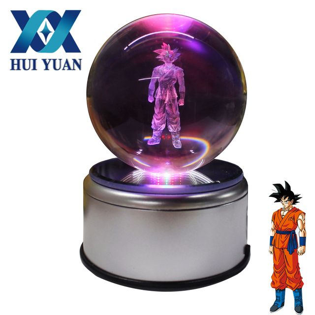 HUI YUAN Goku 3D Crystal Ball Dragon Ball 7 Colors 3D Rotation LED Night Light Desk Table Glass Ball Decorations