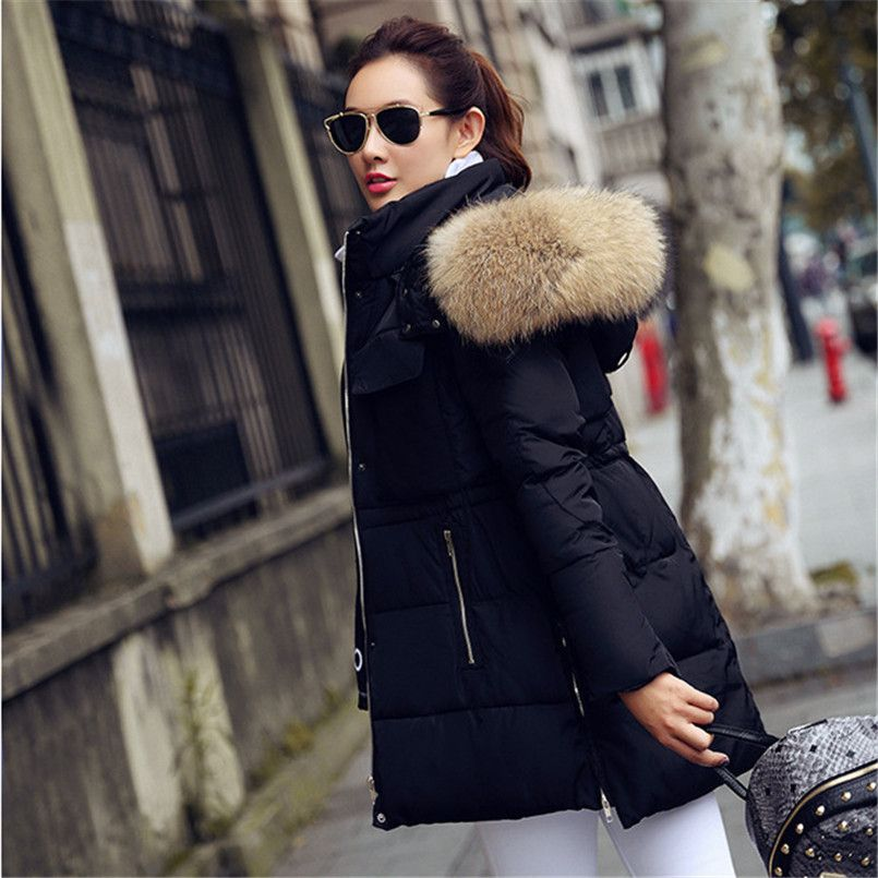YEYELANA Winter Jacket women coat 2017 New winter Jackets women Parkas Big Real Raccoon Fur collar Long coat Female parka