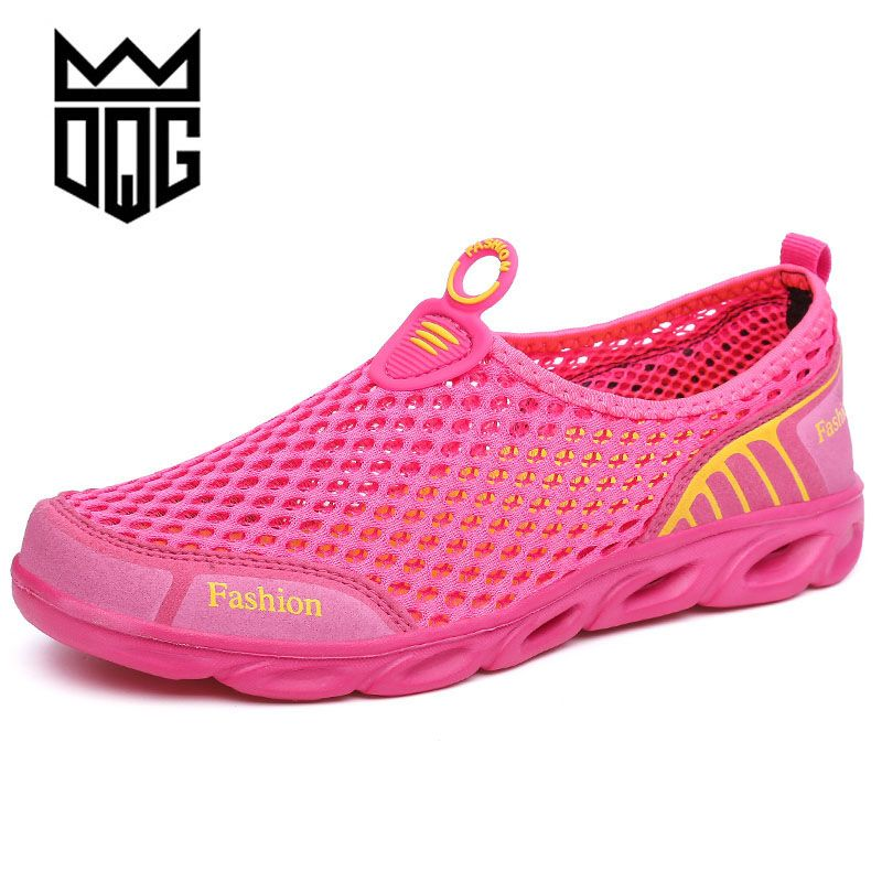 DQG Summer Waterproof Men Running Shoes Mesh Breathable Outdoor Walking Shoes Women Sport Trainers Shoes Cheap Popular Sneakers