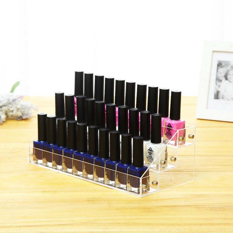 3 Tier 18 Bottles Clear Acrylic Display Stand Rack Organizer Nail Polish Salon Wall Makeup case Good Quality #A209