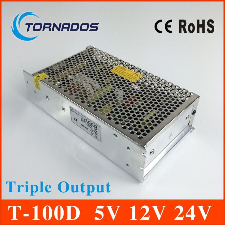 Triple Output switching power supply 100W 5V 6A 12V 2A 24V 2A ac to dc power supply T-100D high quality  CE approved