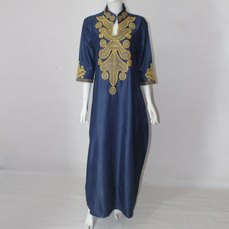 2017 Africa Summer Lady's Maxi Dress Riche Bazin Embroiderd Shirt Dress African Embroidery Kaftan Dresses For Women