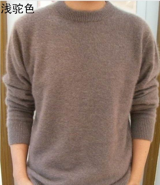 Lafarvie Off Sale Standard Solid Pullovers Full Sleeves O-Neck 100% Mink Cashmere Auturm & Winter  Men Formal Knitted Sweater
